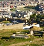 Od wysokości w wioski Morocco Africa budowach i polu Zdjęcie Stock
