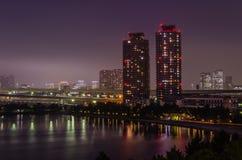 Odaiba bay skyline. Beautiful Odaiba Bay skyline during night Stock Image