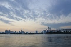 Odaiba City and Rainbow Bridge Stock Images