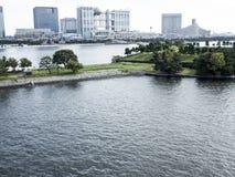 Odaiba Island, Tokyo. Odaiba Island and Daiba park view from the bridge, Tokyo Stock Photos