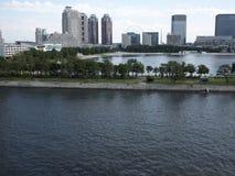 Odaiba Island, Tokyo. Odaiba Island and Daiba park view from the bridge, Tokyo Royalty Free Stock Photography