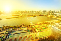 Odaiba sunset aerial view royalty free stock photo
