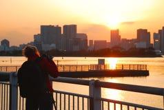 Odaiba Tokyo fjärd Arkivfoto