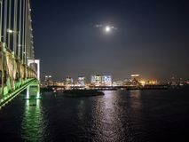 Odaiba View From Rainbow Bridge, Tokyo, Japan, South Route. The Rainbow Bridge レインボーブリッジ Reinbō Burijji is a stock image