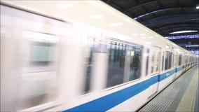 Odakyu Line in Fujisawa Station, Fujisawa, Japan. Odakyu Line is Japan train railway arriving at platform in Fujisawa Station, Fujisawa, Japan stock video