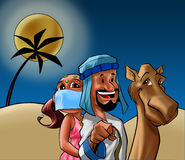 Odalisque and Sheik on the desert Stock Photos