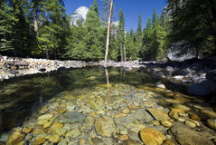 Odbicia w Merced rzece, Yosemite park narodowy, Kalifornia, usa Obrazy Stock