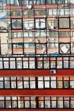 Odbicie cegła dom w lustrzanych okno Zdjęcia Stock