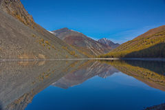 Odbicie góry w jeziorze w spadku w Altai Fotografia Royalty Free