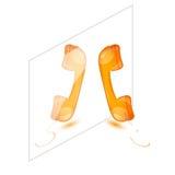 Odbicie lustrzane pomarańczowi handsets, telefonu odbiorcy wektor Fotografia Stock
