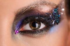 Odbicie miasto w makeup oku z bliska Zdjęcie Royalty Free