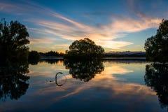 Odbicie na Jeziornym Tekapo przy zmierzchem Fotografia Royalty Free