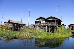 Odbicie przy Inle jeziorem Fotografia Royalty Free