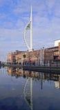 Odbicie Spinaker wierza Portsmouth Obraz Stock