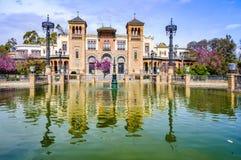 Odbicie w placu de Ameryka w Seville, Hiszpania Zdjęcie Royalty Free