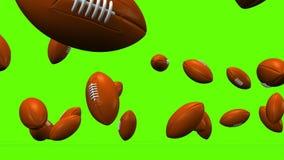 Odbijać się rugby piłki Na Zielonym tle royalty ilustracja