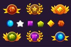 Odbiorcza nagroda za osiągnięcia round osłona i klejnoty ustawiamy, różne nagrody Dla gry, interfejs użytkownika, sztandar, zasto ilustracji
