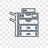 Odbitkowego maszynowego pojęcia wektorowa liniowa ikona na przejrzystym royalty ilustracja