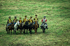 Odbudowa bitwa Rosyjscy i Napoleońscy oddziały wojskowi blisko Rosyjskiego miasta Maloyaroslavets Październik 23, 2016 zdjęcia stock