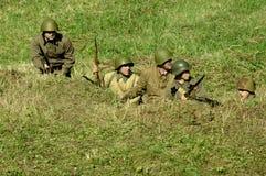 Odbudowa bitwa 1941 wojna światowa 2 w Kaluga regionie Rosja obrazy stock