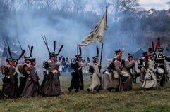 Odbudowa bitwy Patriotyczna wojna 1812 Rosyjskich miast Maloyaroslavets Fotografia Stock