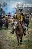 Odbudowa historyczna bitwa między rosjaninem i Napoleon oddziałami wojskowymi od Rosyjskiego miasta Maloyaroslavets Obraz Stock