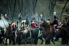 Odbudowa historyczna bitwa między rosjaninem i Napoleon oddziałami wojskowymi od Rosyjskiego miasta Maloyaroslavets Obrazy Stock