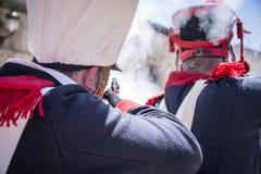 Odbudowa Napoleoński wojsko Żołnierz strzelanina zdjęcia stock