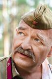 Odbudowa wydarzenia druga wojna światowa, Rosja, Dimitrovgrad, 26 2017 Aug Portret stary żołnierz Zdjęcia Stock