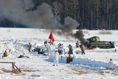 Odbudowa wydarzenia w 1943 kończy bitwę Stalingrad. Fotografia Stock