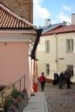 Odciek w postaci buta na starych ulicach średniowieczny Talli Fotografia Royalty Free