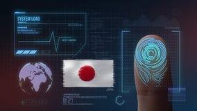 Odcisk Palca Biometrycznego skanerowania Tożsamościowy system Japonia narodowość royalty ilustracja