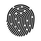Odcisk palca ikona Odcisku palca tożsamościowy system Digital i cyber ochrona, biometryczna autoryzacja ilustracji