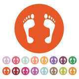 Odcisk stopy ikona kolorowego projekta elementu nożny ilustracyjny symbol mieszkanie Zdjęcia Stock