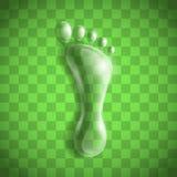 Odcisk stopy jako przejrzysta kropla Fotografia Stock