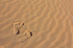 odcisk stopy pustynny piasek Zdjęcia Royalty Free