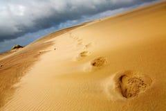 odcisk stopy wydmowy piasek Fotografia Royalty Free