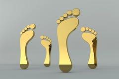 odcisk stopy złoci Zdjęcie Royalty Free