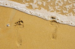 Odciski stopy w piasku. Fotografia Stock