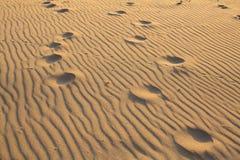 Odciski stopy na falistej złotej piasek plaży Abstrakt obrazy royalty free