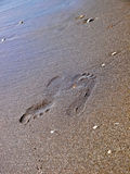 Odciski stopy na piasku Fotografia Stock