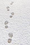 Odciski stopy w śnieżnym tle Fotografia Royalty Free