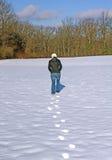 Odciski stopy w śniegu Zdjęcie Stock
