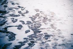 Odciski stopy w śniegu Fotografia Stock