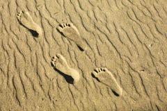 Odciski stopy w piasku Zdjęcie Stock