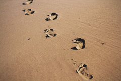 Odciski stopy w piasku na Polzeath wyrzucać na brzeg rocznika Retro filtr fotografia royalty free