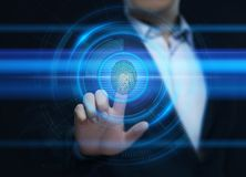 Odcisku palca obraz cyfrowy zapewnia ochrona dostęp z biometrics identyfikacją Biznesowej technologii Zbawczy Internetowy pojęcie ilustracji