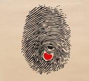 Odcisku palca serce Zdjęcia Stock