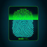 Odcisku palca skanerowanie - cyfrowy biometryczny system bezpieczeństwa, dostęp Zdjęcie Stock