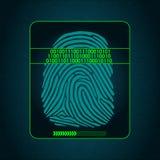Odcisku palca skanerowanie - cyfrowy system bezpieczeństwa, biometryczny Fotografia Stock